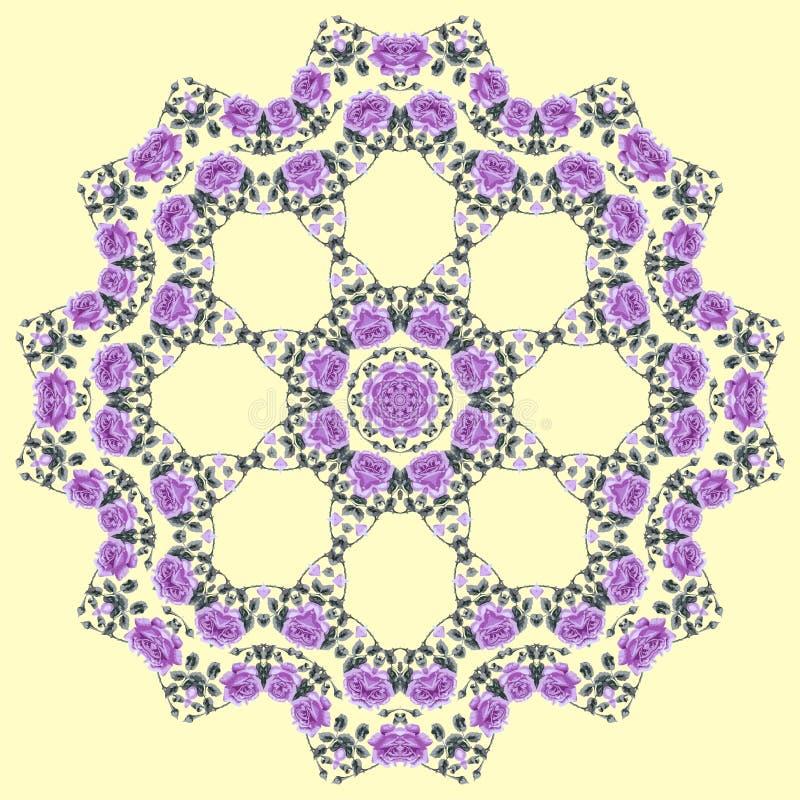 Lata kwiecisty bezszwowy round (róże). royalty ilustracja
