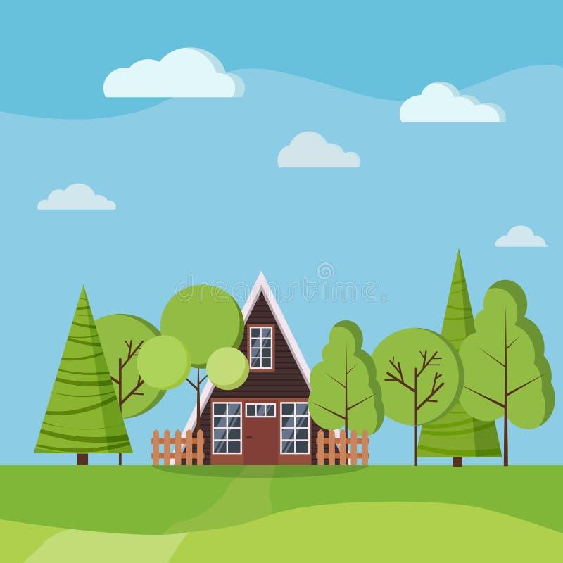 Lata lub wiosny krajobraz z małym rama domem z ogrodzeniami, zieleni drzewa, świerczyny, chmury, droga, pola royalty ilustracja