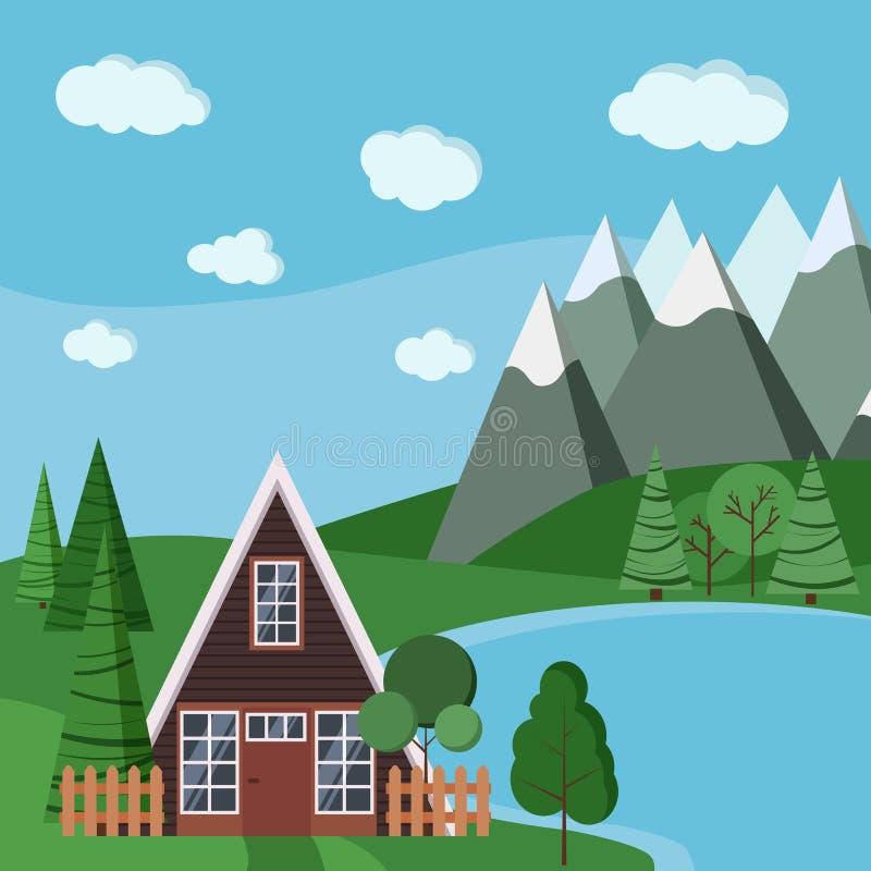 Lata lub wiosny krajobrazowa scena z rama domem z, ilustracja wektor