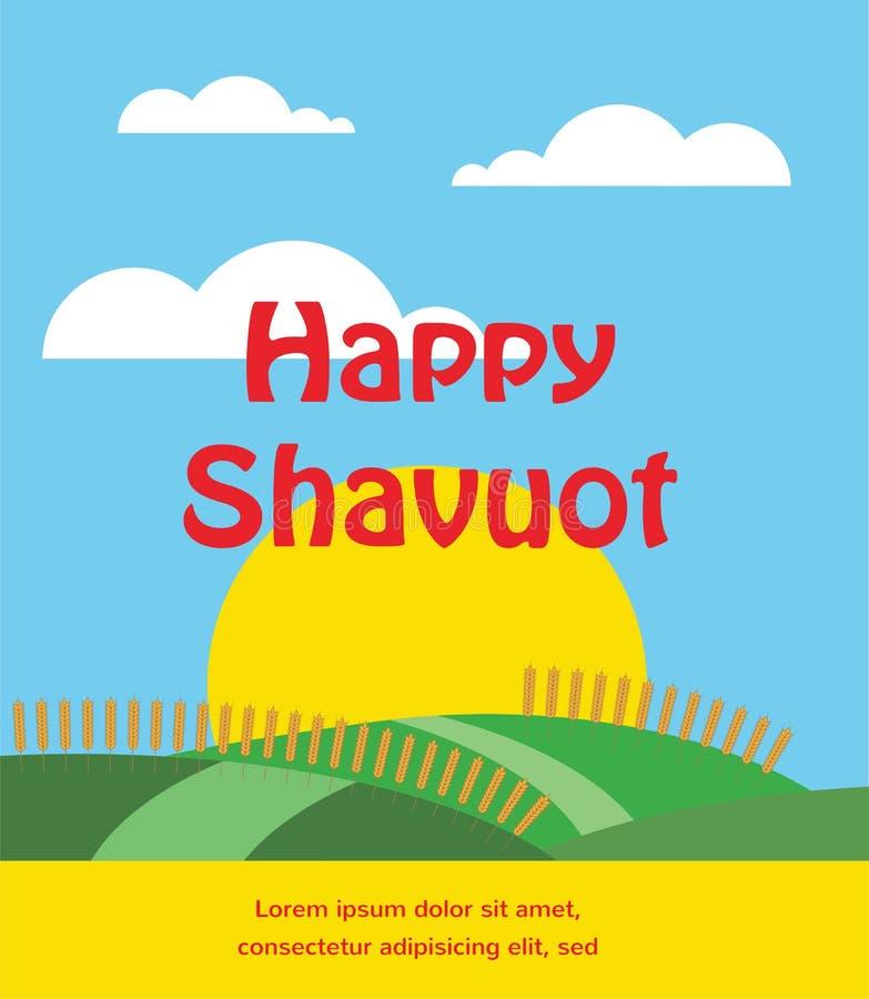 Lata lub wiosny scena z pszenicznym polem Shavuot karta ilustracji