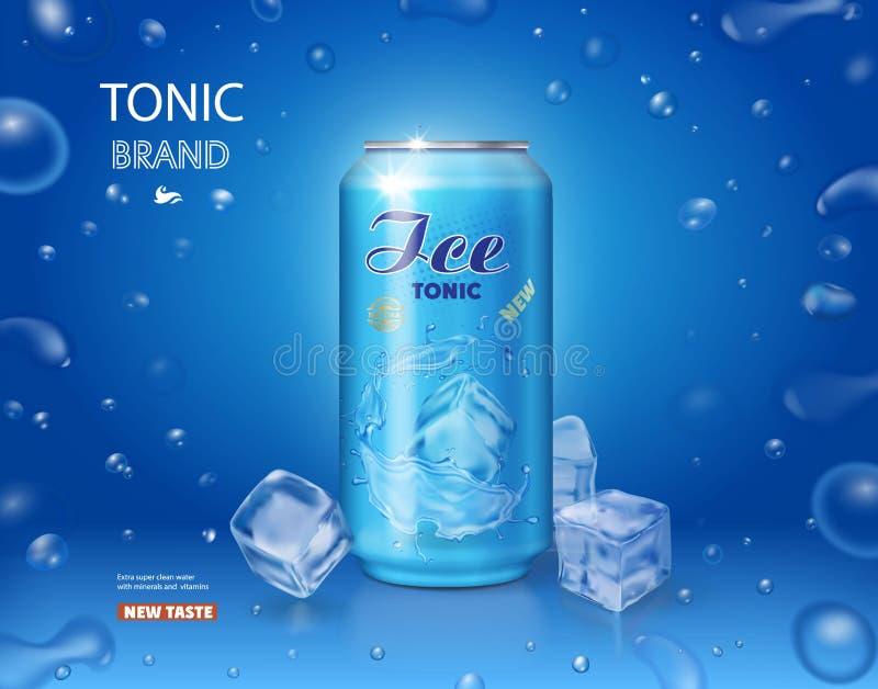Lata metálica com refresco do tônico e cubo de gelo no fundo azul ilustração do vetor