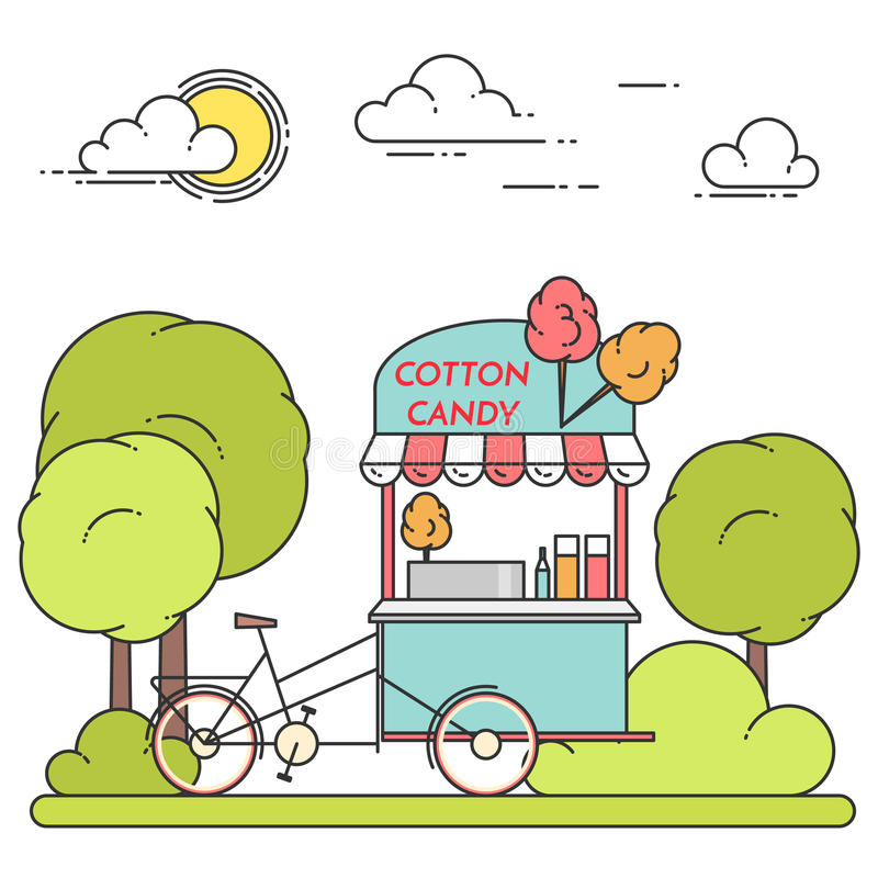 Lata miasta krajobraz z bawełnianego cukierku bicyklem w centrala parku również zwrócić corel ilustracji wektora Kreskowa sztuka ilustracji