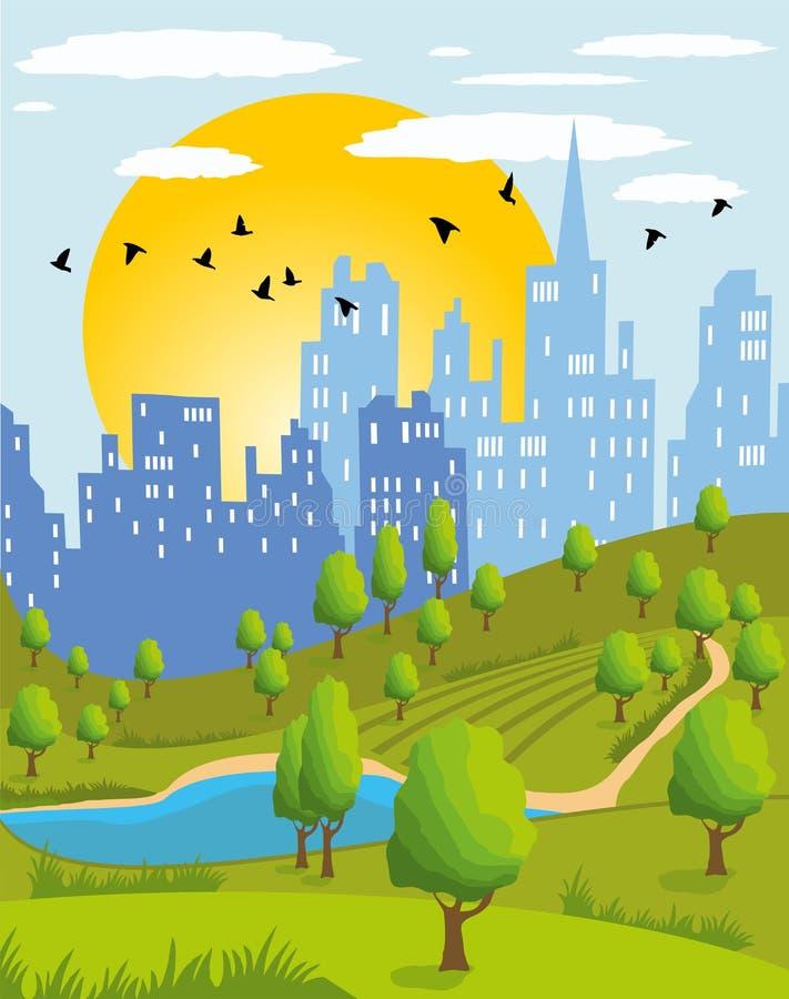 Lata miasta park royalty ilustracja