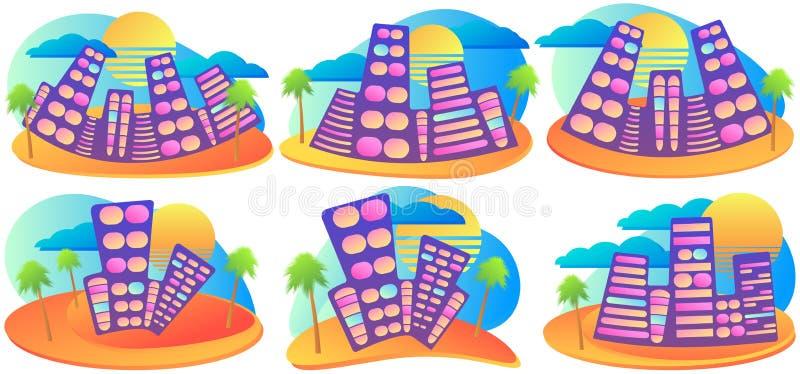 Lata miasto z palmą i słońcem Rzadkop?ynny gradientowy projekta sztandaru set Kurort z piaskowatą plażą wektor ilustracji