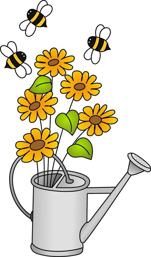 Lata molhando com flores e abelhas ilustração royalty free