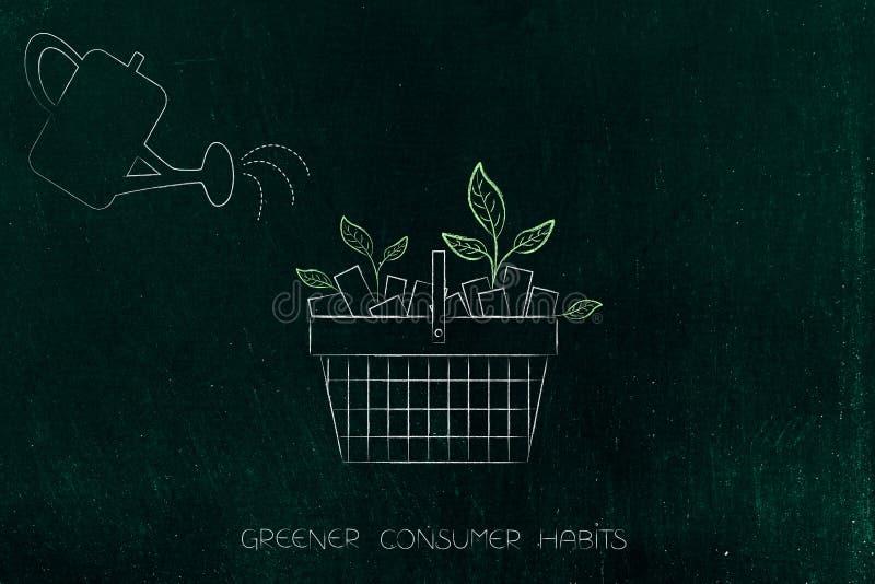 Lata molhando e cesto de compras com as folhas que crescem fora dela, ilustração royalty free