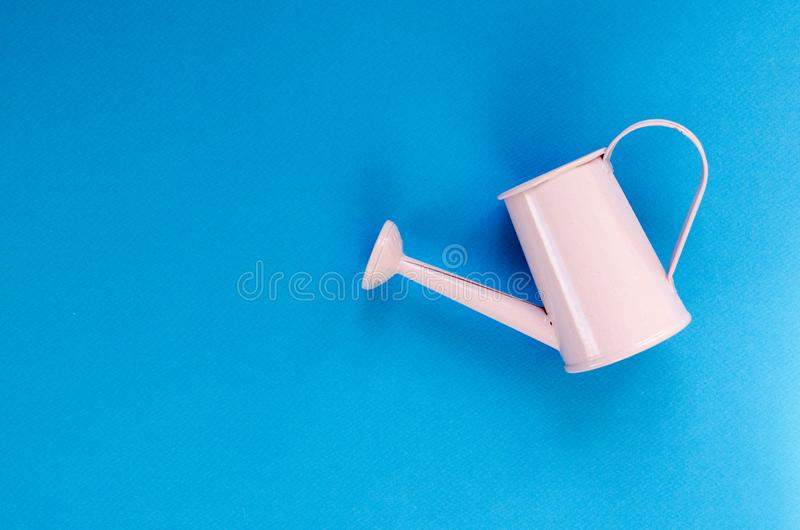 Lata molhando pequena do rosa no fundo azul foto de stock royalty free