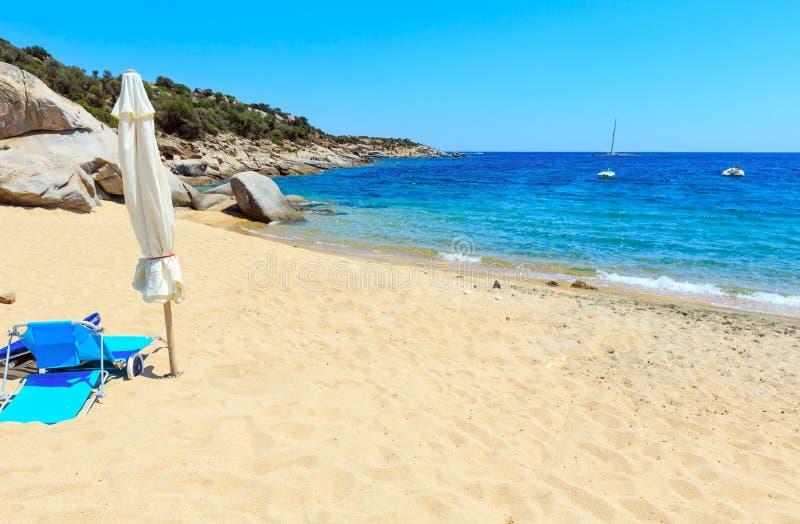 Lata morza plaża Halkidiki, Grecja zdjęcie stock