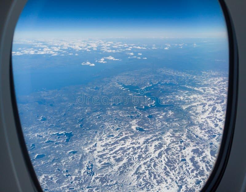 Lata? nad P??nocna Ameryka podczas wiosna sezonu Krajobraz od samolotowego okno POV fotografia stock