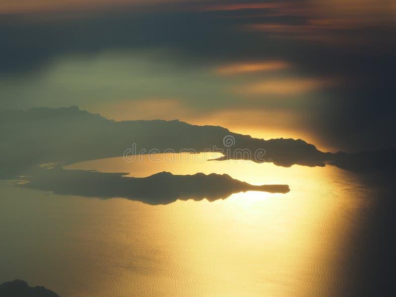Lata? nad wysp? Majorca podczas zmierzchu Widok od samolotowego okno Mallorca, Hiszpania obraz royalty free