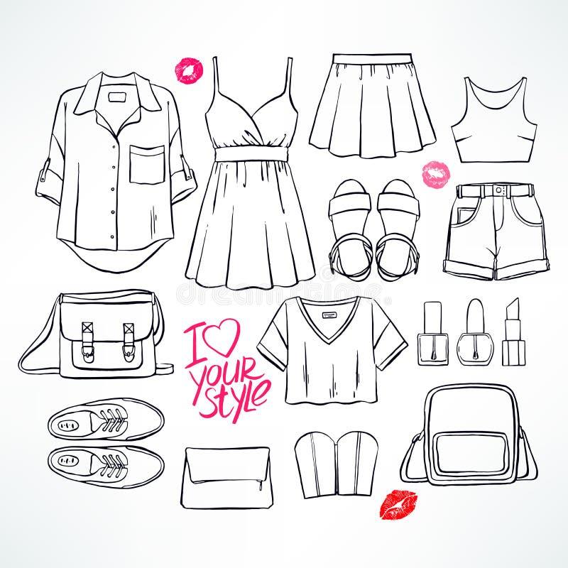 Lata nakreślenia odzież ilustracja wektor