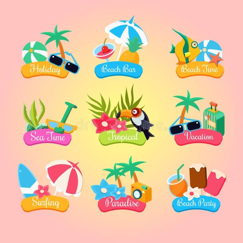 Lata przyjęcia etykietki I elementy Ustawiający Odizolowywającymi royalty ilustracja