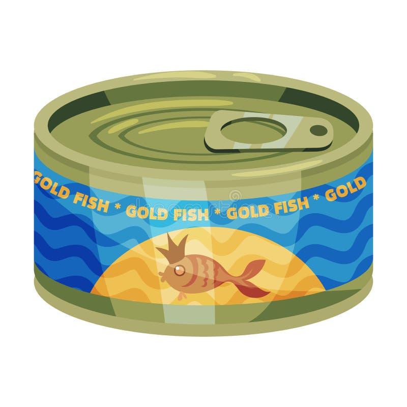 Lata redonda con el pez de colores en la etiqueta Ilustraci?n del vector en el fondo blanco ilustración del vector