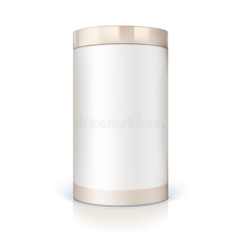 Lata redonda do empacotamento para produtos maiorias Cilíndrico do recipiente dado forma ilustração stock