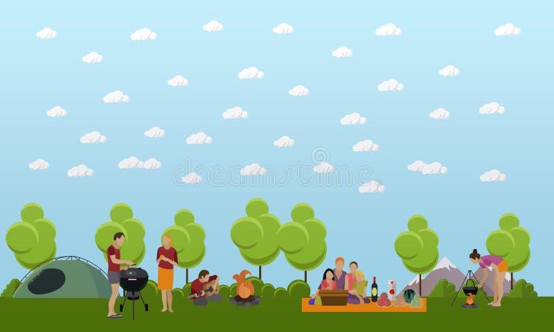 Lata rekreacyjnego pojęcia wektorowy sztandar w mieszkanie stylu Ludzie obozuje w parku royalty ilustracja