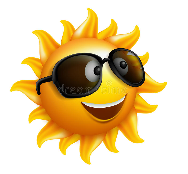Lata słońca twarz z okularami przeciwsłonecznymi i Szczęśliwym uśmiechem ilustracji