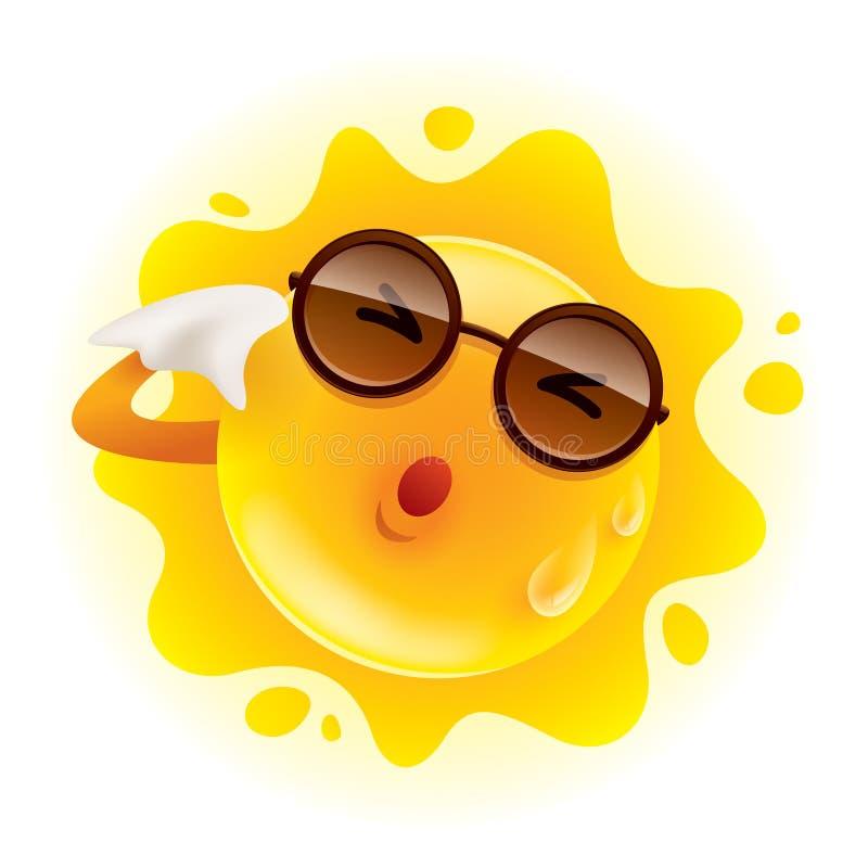 Lata słońca uczucie gorący i obcieranie pot royalty ilustracja