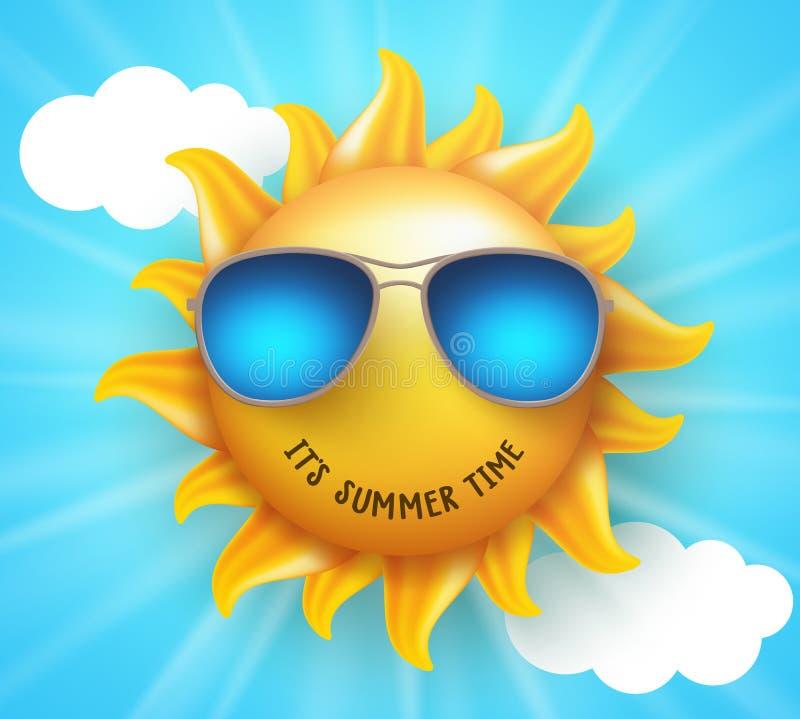 Lata słońca wektorowy projekt z śmiesznym uśmiechem i lato czasu tekstem royalty ilustracja