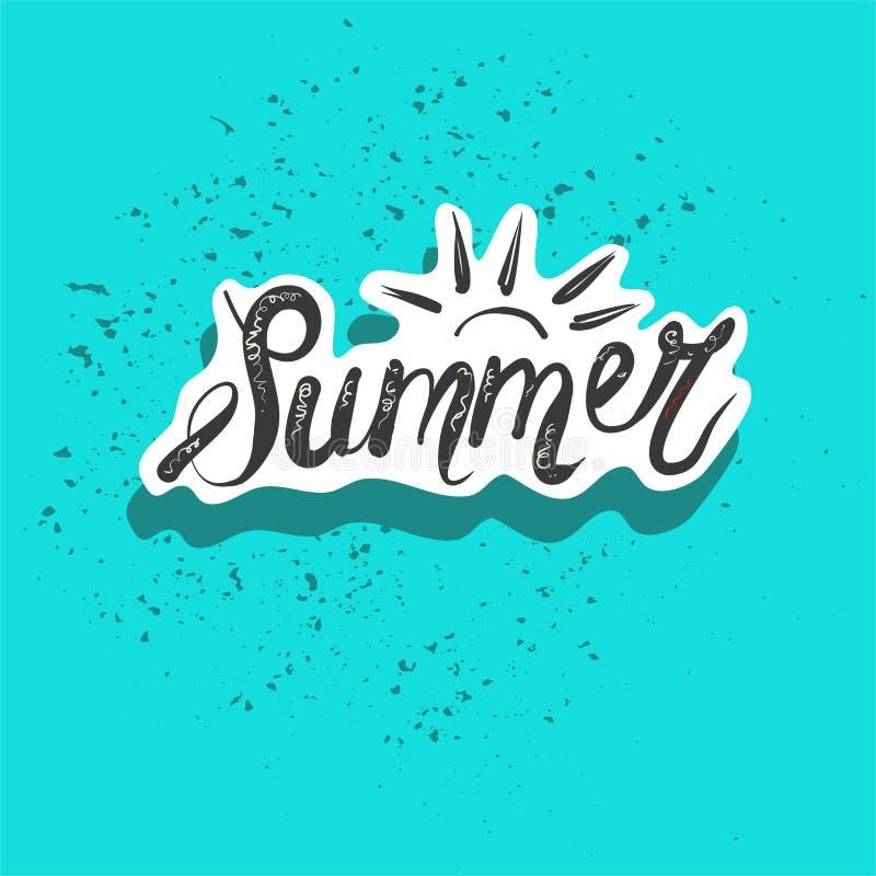 Lata słowo z tropikalnymi liśćmi Sezon sprzedaży wektorowa etykietka Lato mody łaty odznaki majcher Dla koszulki, moda ilustracja wektor