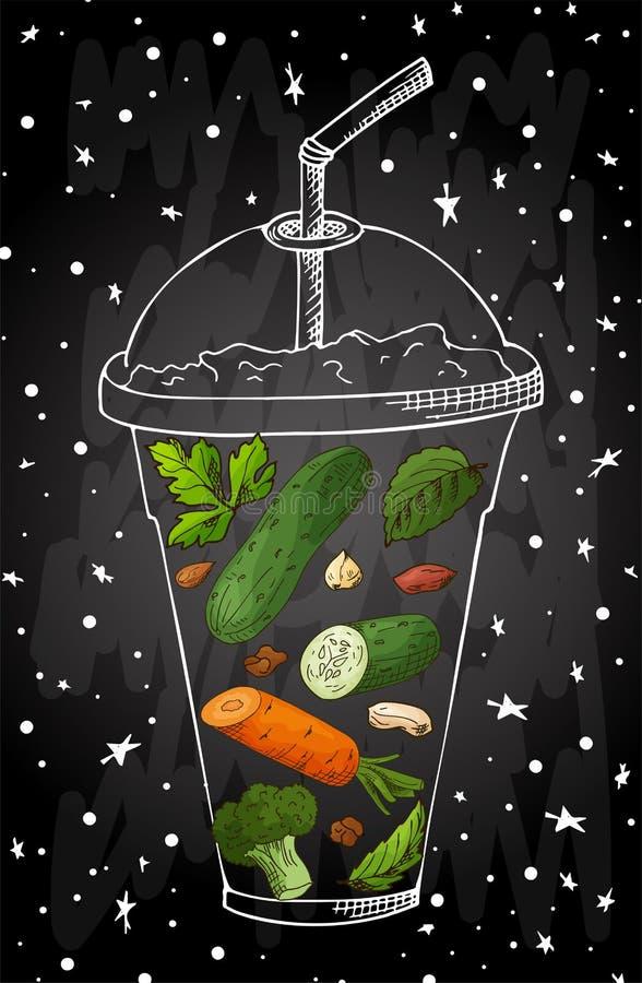 Lata smoothie napoju owocowy menu Infographic przepisu plakat w nakreślenie stylu Wektorowy Illustartion ilustracji