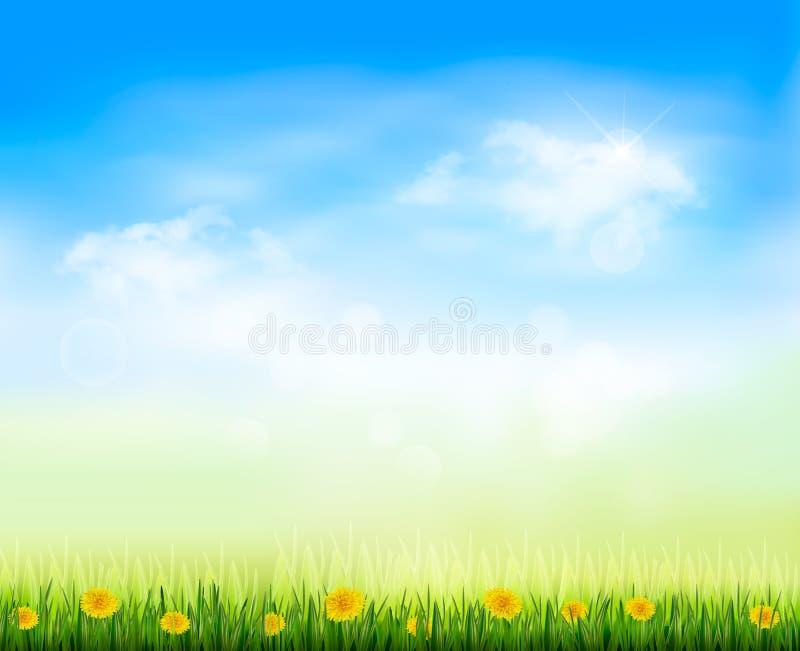 Lata spojrzenia tło z niebieskim niebem ilustracji