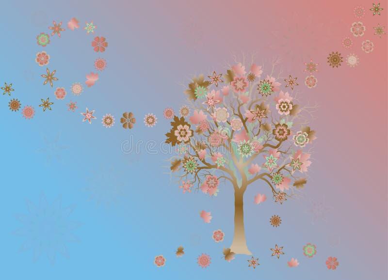 Lata tło z kolorowym drzewem z abstraktów liśćmi na wiatrze i kwiatami ilustracji