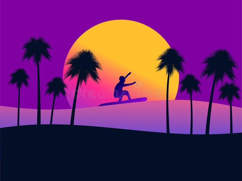 Lata tło z surfingowem i drzewkami palmowymi na zmierzchu tle Gradientowy kolor żółty i purpury wektor ilustracja wektor
