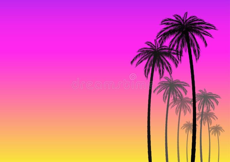 Lata tło z sylwetką kokosowa palma ilustracji
