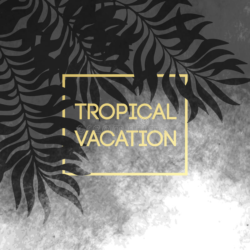 Lata tropikalny tło palma liście, złoty tekst i rama również zwrócić corel ilustracji wektora ilustracja wektor