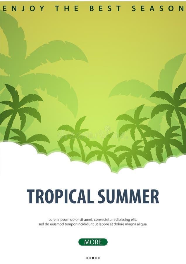 Lata tropikalny tło z palmami Lato plakata ulotki zaproszenia plakatowa karta młodzi dorośli również zwrócić corel ilustracji wek royalty ilustracja