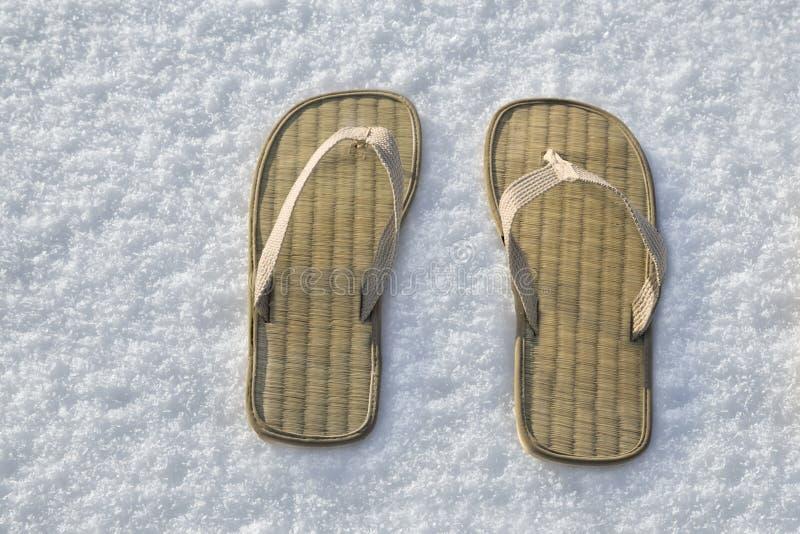 Lata trzepnięcia klapy sandały na białym śniegu zdjęcia stock