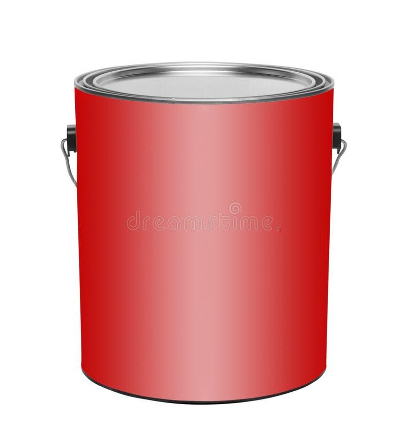 Lata vermelha da pintura do galão, isolada imagens de stock royalty free