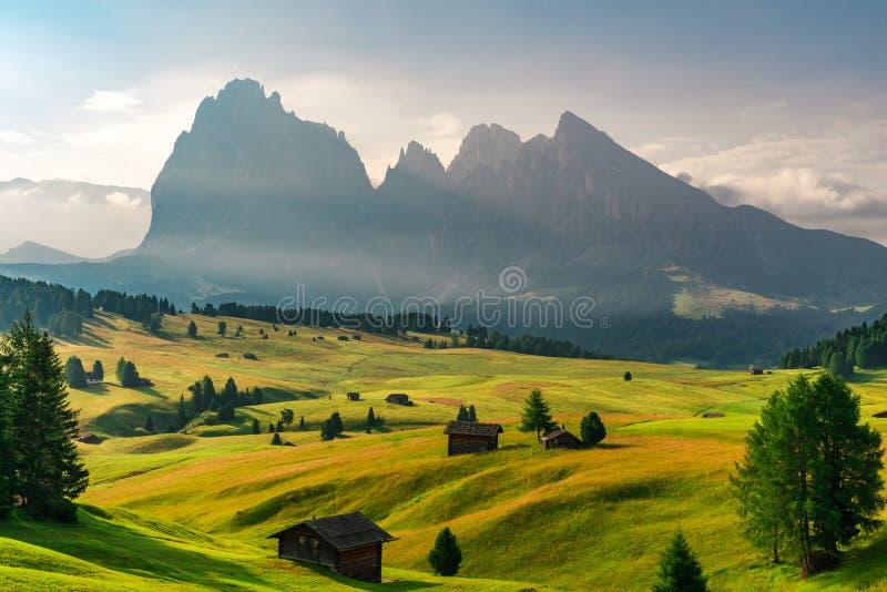 Lata wschód słońca w włoszczyzny Dolomiti Alps Seiser Alm lub Alpe Di Siusi lokacja, Bolzano prowincja, Południowy Tyrol, Włochy obraz stock