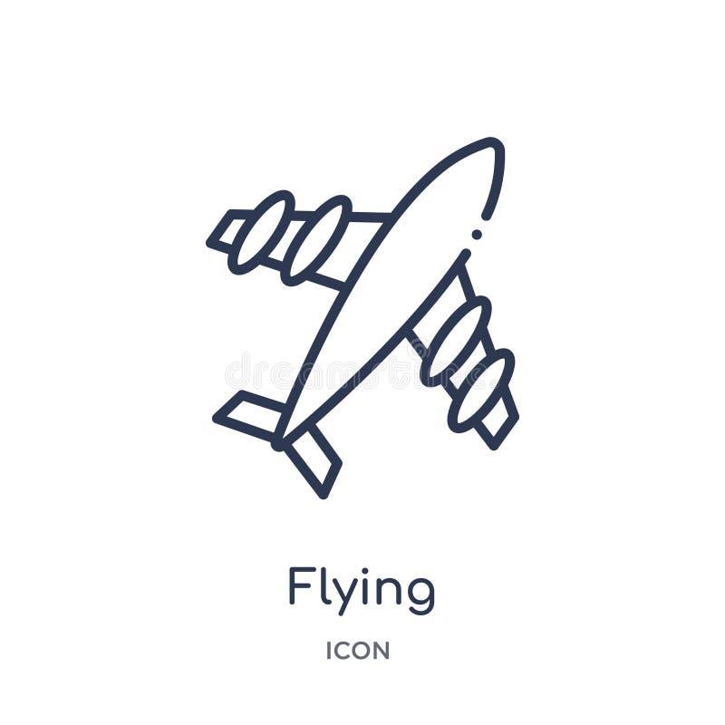 latająca samolotu odgórnego widoku ikona od przewiezionej kontur kolekcji Cienieje kreskową latającą samolotu odgórnego widoku ik ilustracji