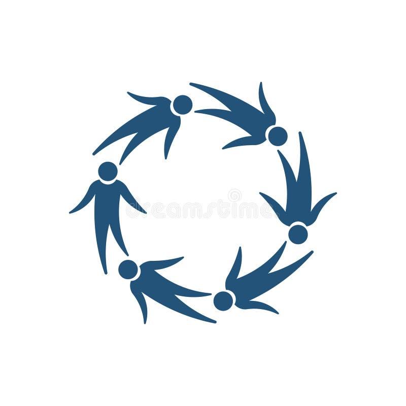 Latający druk ludzie Grupowego logo Wektor - wektor ilustracji