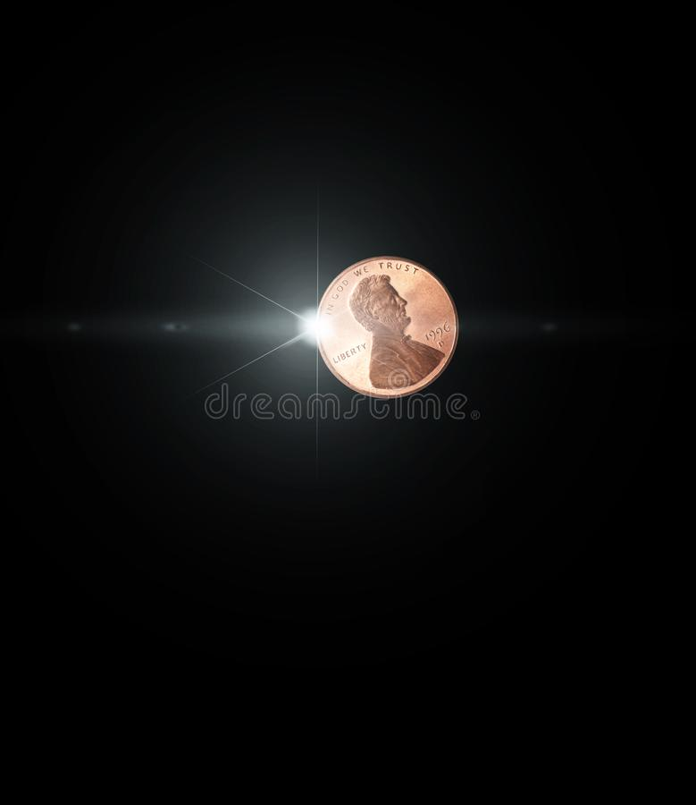 Latająca błyszcząca jeden cent moneta zdjęcia stock