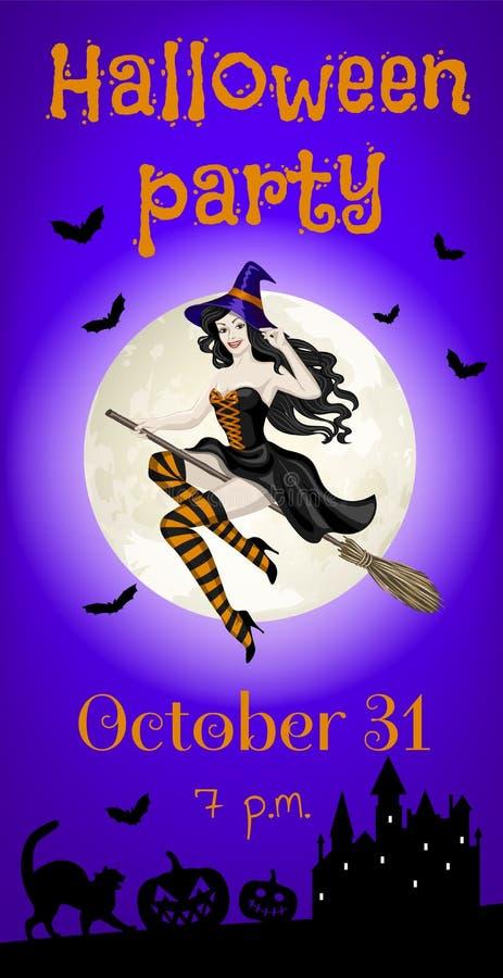Latająca czarownica i kasztel ilustracja wektor