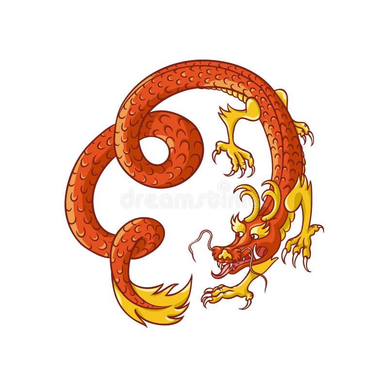 Latająca czerwień i złoto chińczyk, Japoński smok ilustracja wektor