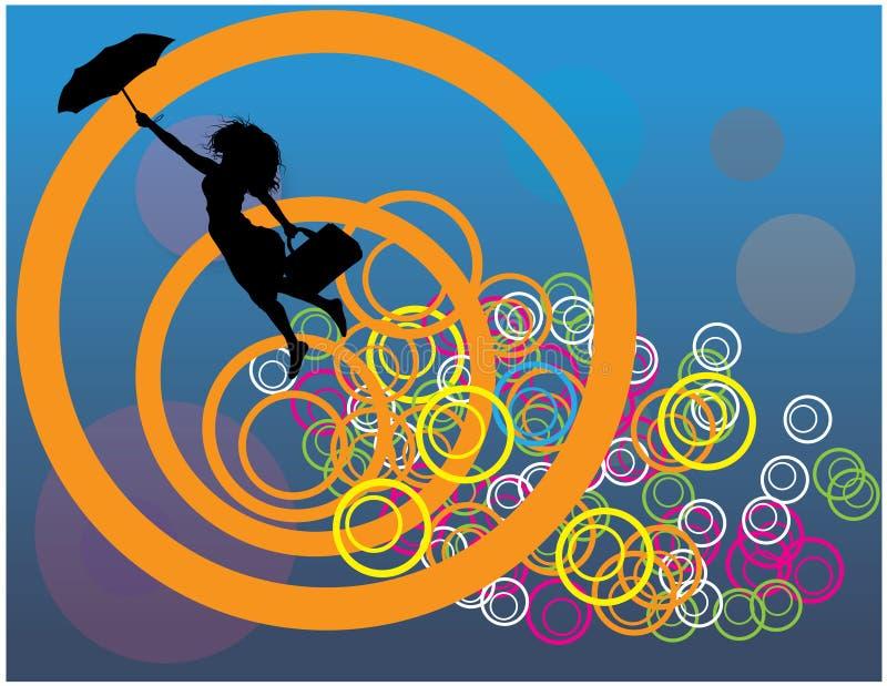 latająca dziewczyna ilustracja wektor