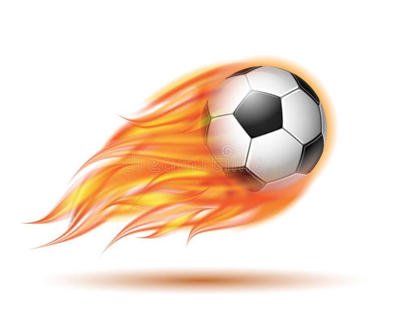 Latająca futbolu lub piłki nożnej piłka na ogieniu ilustracja wektor