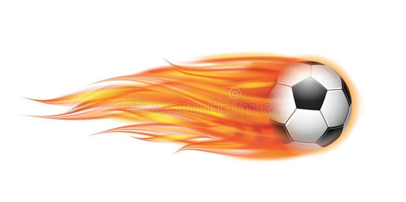 Latająca futbolu lub piłki nożnej piłka na ogieniu royalty ilustracja