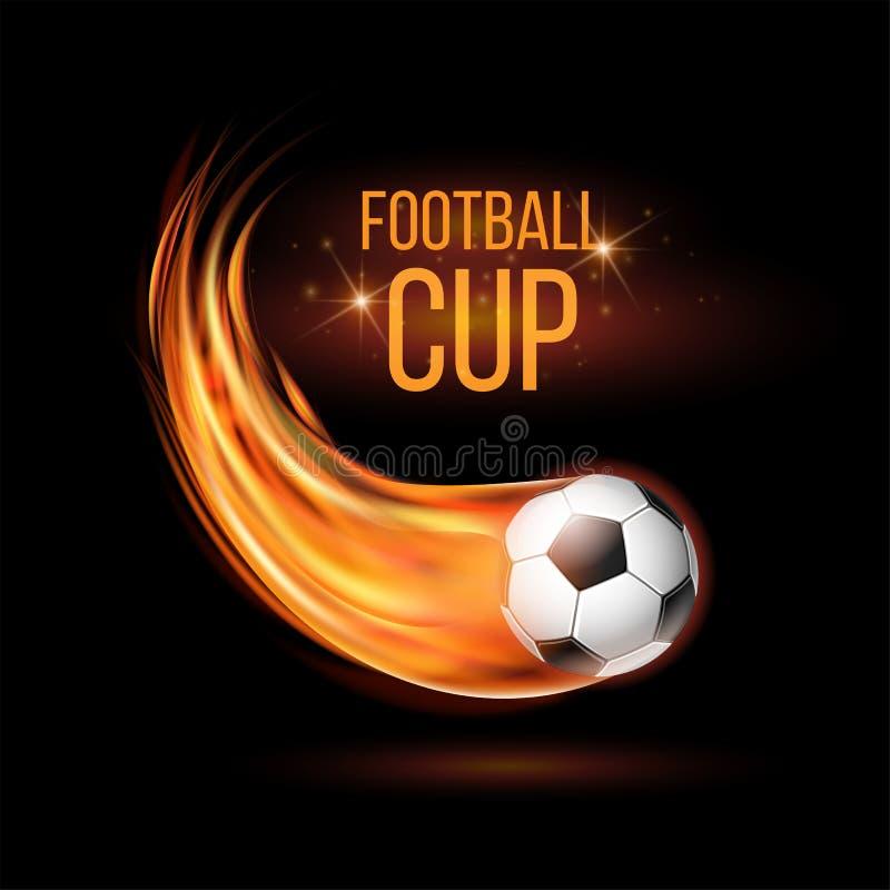Latająca futbolu lub piłki nożnej piłka na ogieniu ilustracji