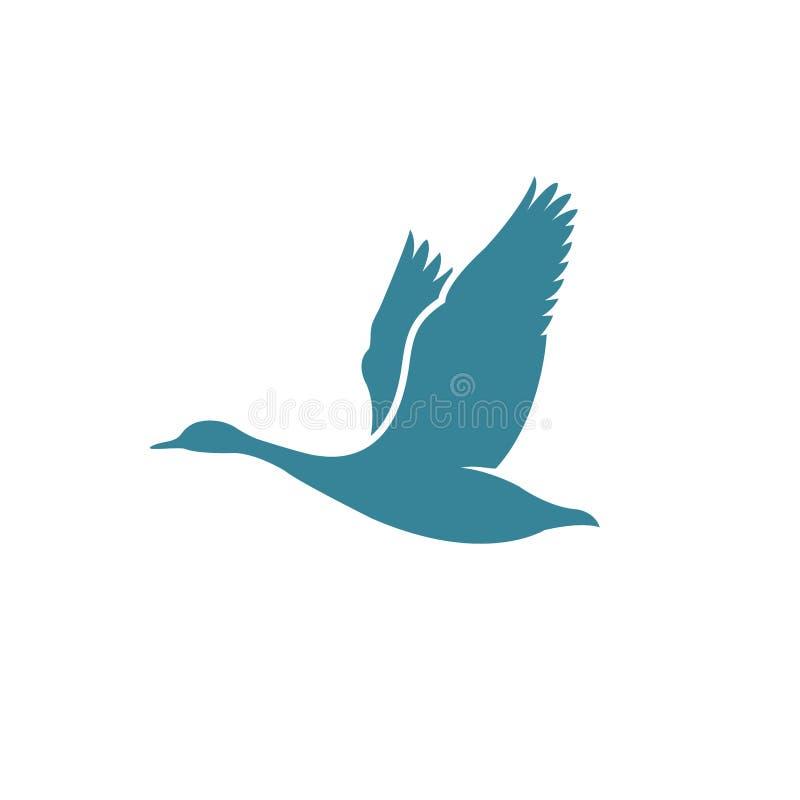 Latająca Gęsia wektorowa ilustracja, Ptasia logo projekta inspiracja ilustracja wektor