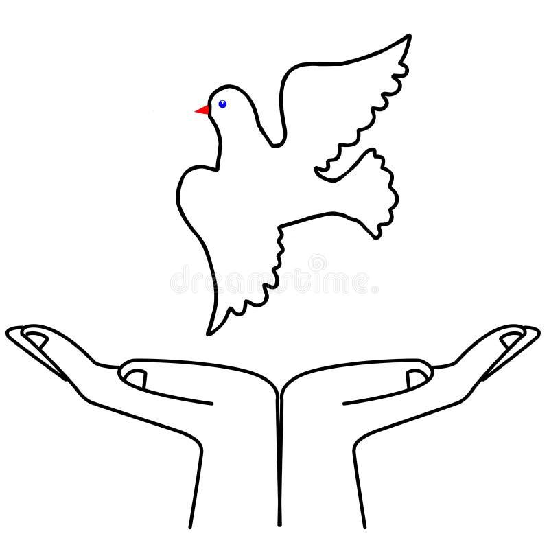 latająca gołąbki ilustracja royalty ilustracja