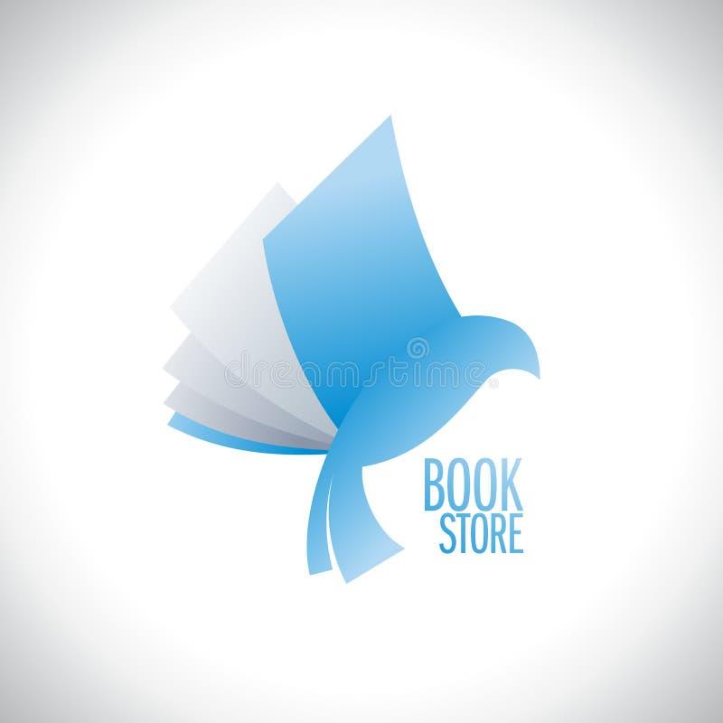 Latająca książka jak ptasi logo, edukaci pojęcie ilustracji