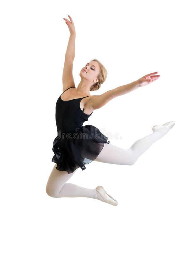 Latająca lub skokowa tancerz dziewczyna odizolowywająca fotografia royalty free