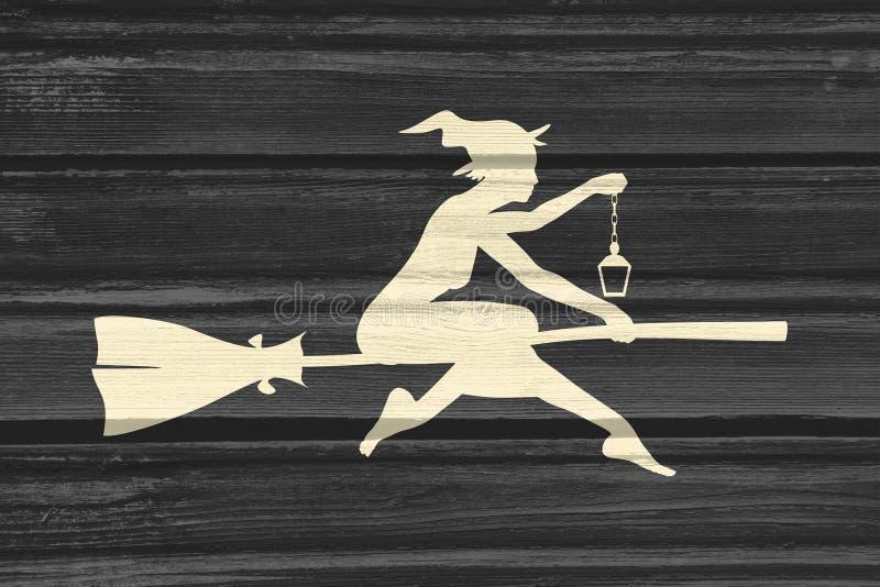 Latająca młoda czarownicy ikona Czarownicy sylwetka na broomstick zdjęcia stock