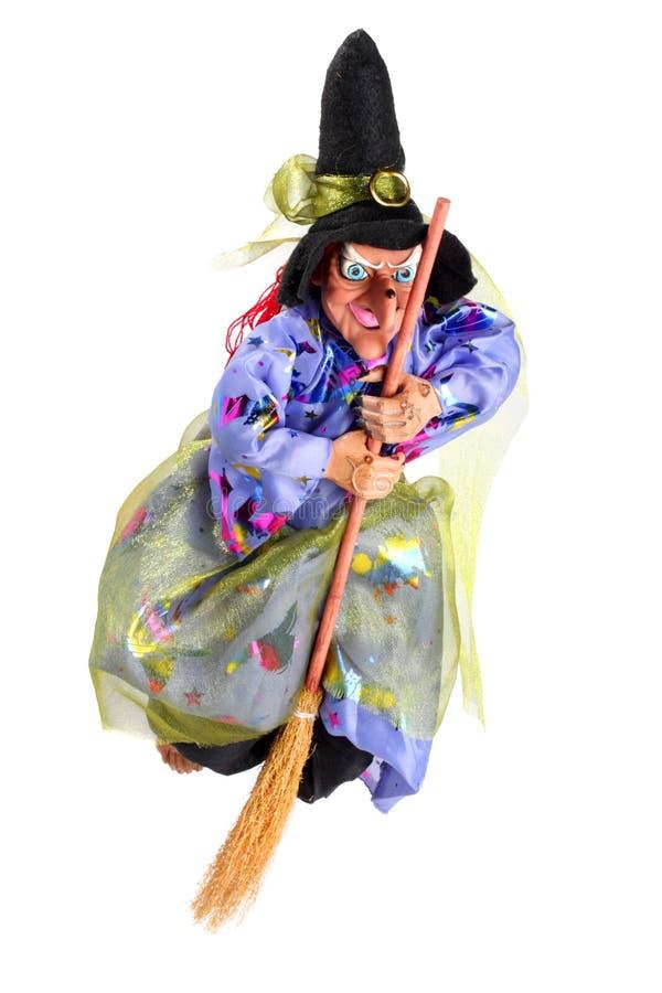latająca miotły czarownica obrazy stock
