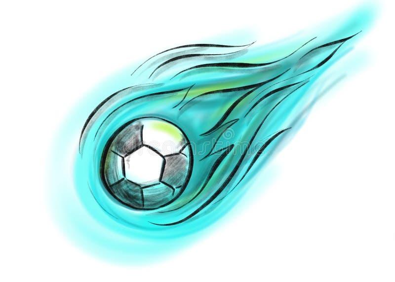 Latająca piłka z ogieniem w błękicie, czarny i biały zdjęcia stock