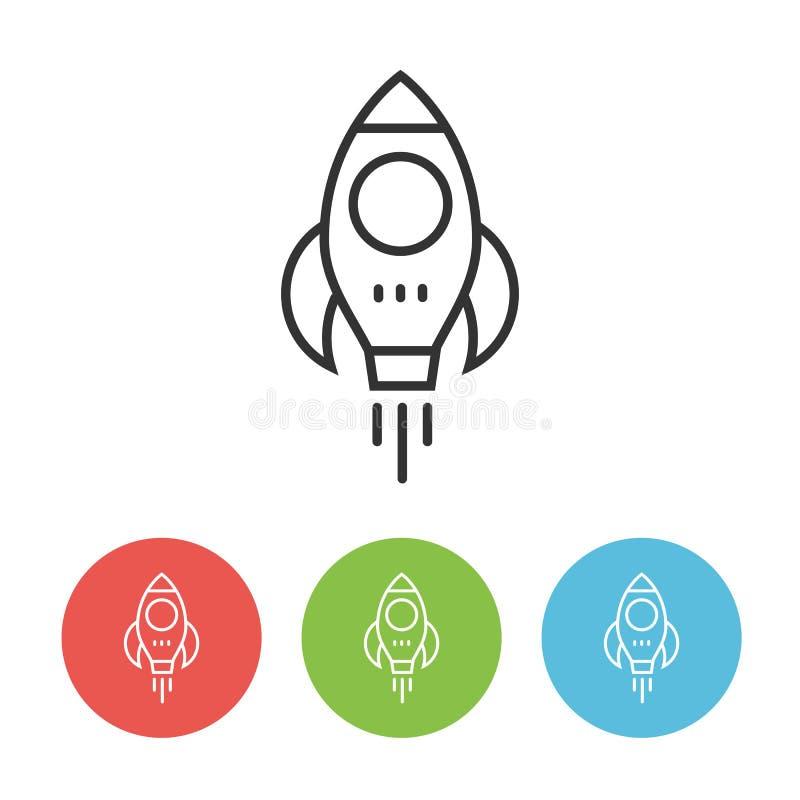 Latająca rakietowa konturu wektoru ikona royalty ilustracja